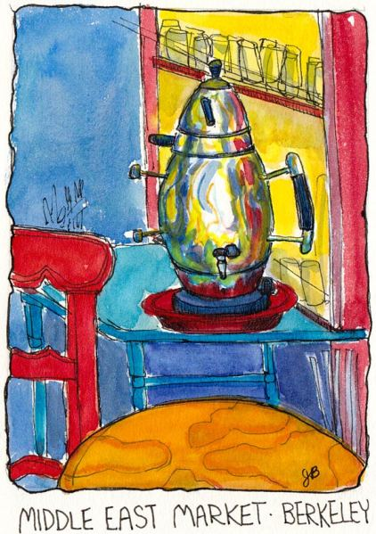 Middle East Market Teapot, Berkeley, ink & watercolor 5.5 x 7""