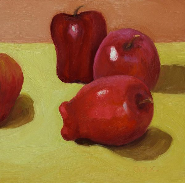"Leftover Lunchroom Apples #2, oil on board, 8x8"""