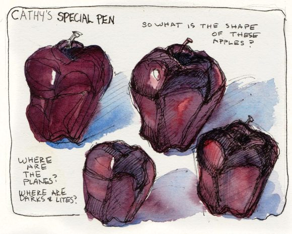 """Study for """"Leaning and Learning Apples,"""" ink & watercolor"""