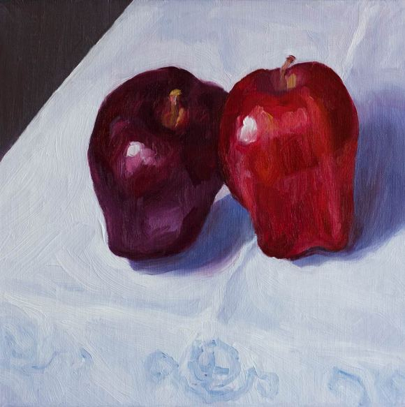 """""""Leaning Learning Apples"""", oil on linen, 8x8"""""""