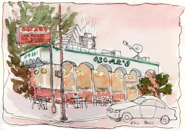 Oscars Burgers at Sunset, Berkeley, ink & watercolor