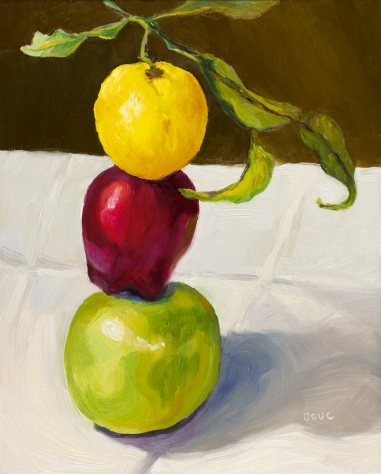 Stacked, painting of apples and lemon stacked a top each other, oil on Gessobord, 10x8""