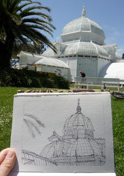 Photo of the Conservatory with my sketch