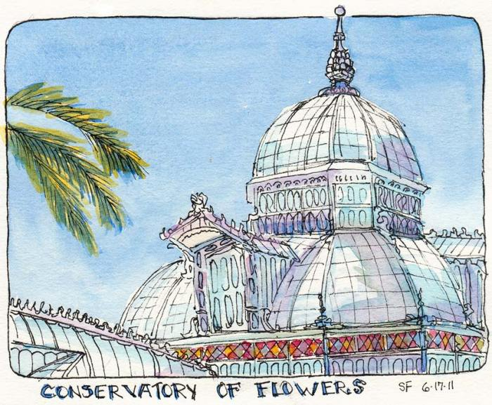 Conservatory of Flowers, Golden Gate Park, ink & watercolor, 5x7""