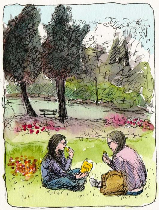 """Girls Picnic  in Golden Gate Park, ink & watercolor, 7x5"""""""