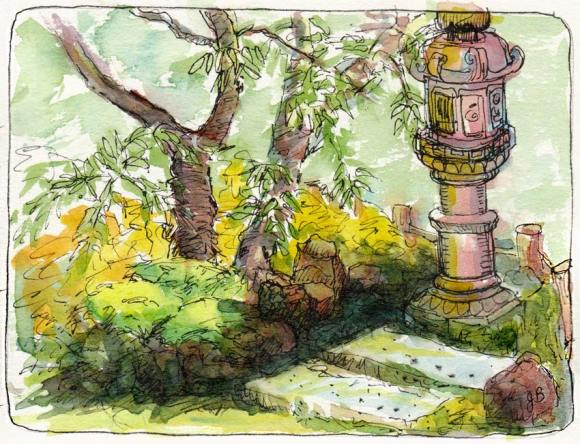 View from Teahouse in Japanese Tea Garden, ink & watercolor, 5x7""