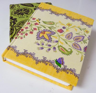 Newly bound journal; cover from old tablecloth
