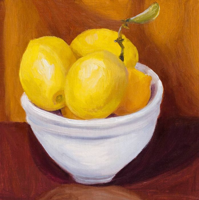 Meyer Lemons Bowled, oil on linen, 8x8""