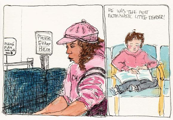 Waiting at Kaiser, Ink & Watercolor, 5.5x7.5""