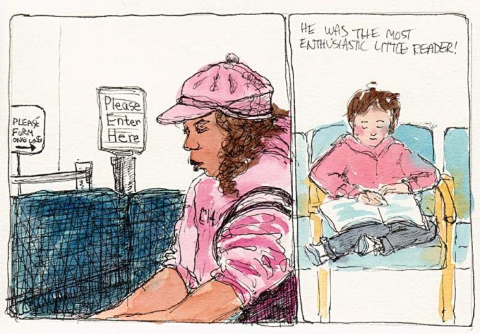 """Waiting at Kaiser, Ink & Watercolor, 5.5x7.5"""""""