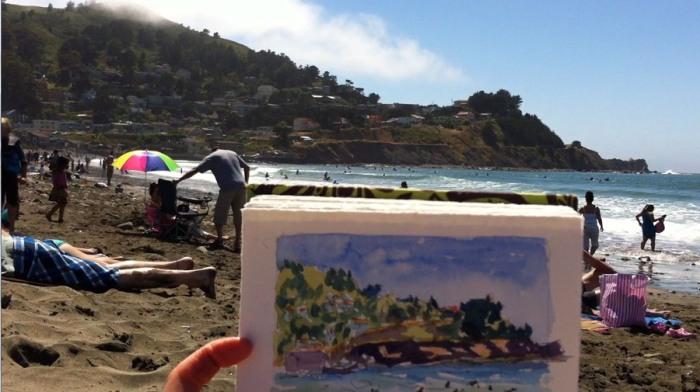 Linda Mar Beach, Pacifica, sketch and scene