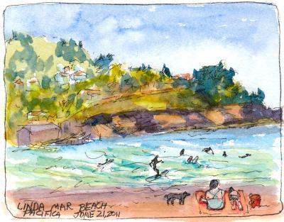 """Linda Mar Beach, ink & watercolor, 5x7"""""""