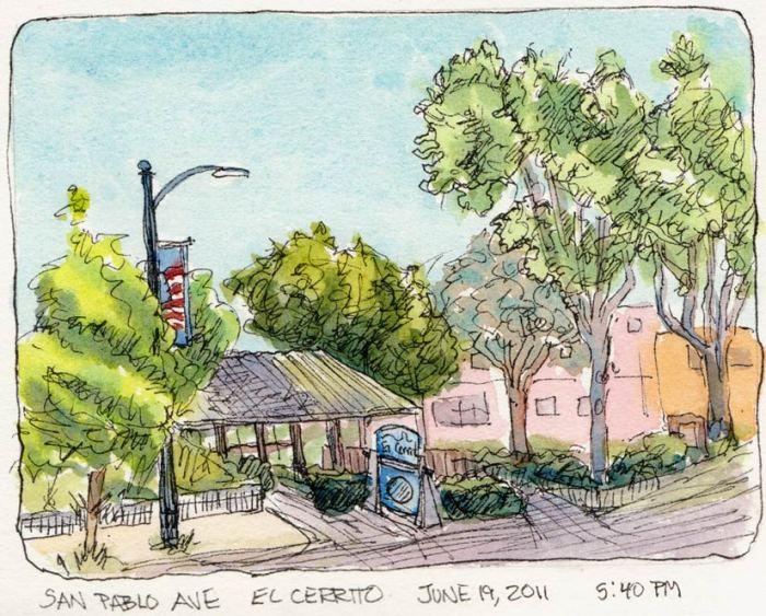 """San Pablo Ave. Wells Fargo, El Cerrito, ink & watercolor, 5x7"""""""
