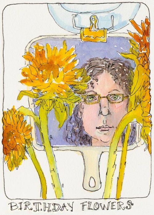 "Birthday Flowers Self Portrait, ink & watercolor, 7x5"""