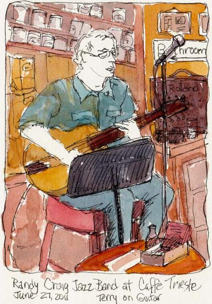 Randy Craig Jazz Band's guitarist, Terry at Caffe Trieste, ink & watercolor, 7x5""