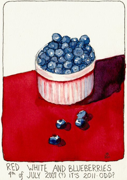 Red, White and Blueberries, ink & watercolor, 7x5""