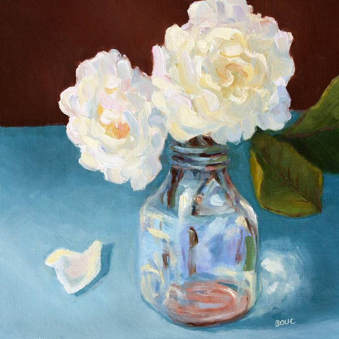 White Roses in Creamery Bottle, oil on linen, 8x8""