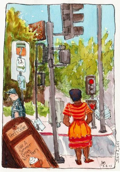 Peet's Coffee Corner, El Cerrito, ink & watercolor, 7x5""