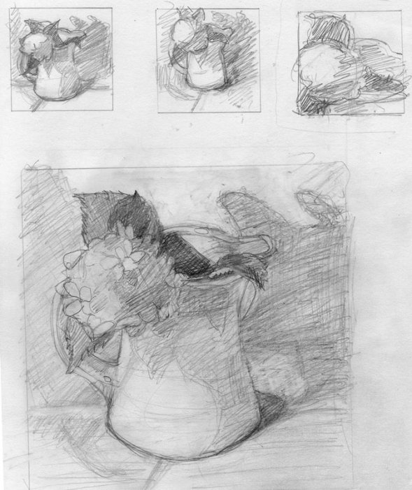 Hydrangea and pitcher preliminary sketches