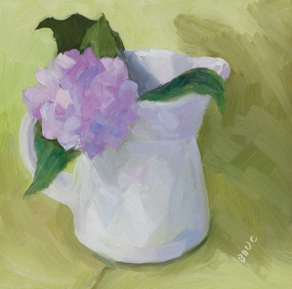 "Baby Hydrangea, oil on panel, 6x6"""