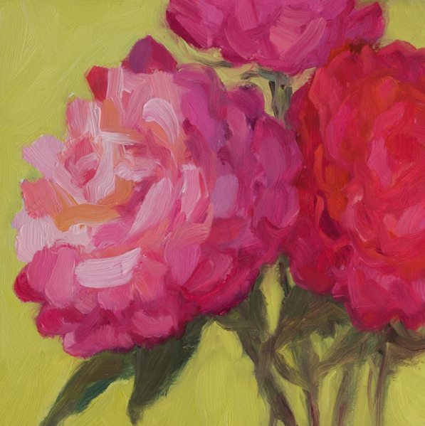 Blowsie Roses, oil on Gesobord panel, 6x6""