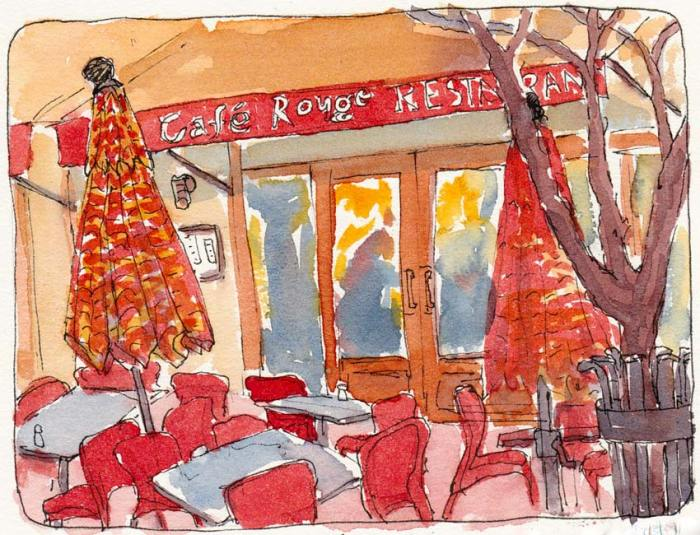"""Cafe Rouge at Sunset, Ink & watercolor, 5x7"""""""