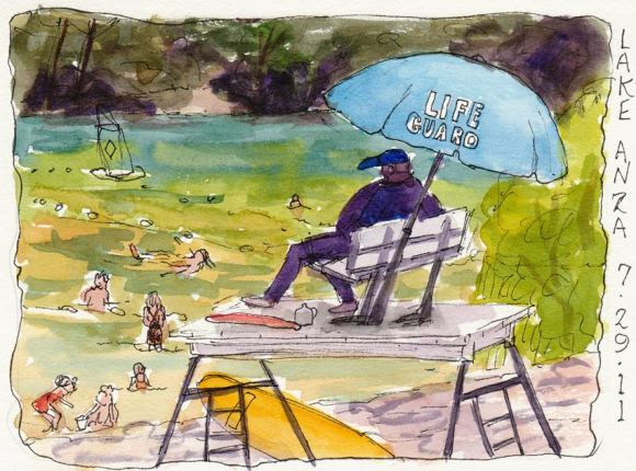 Lake Anza Lifeguard, ink & watercolor, 5x7""