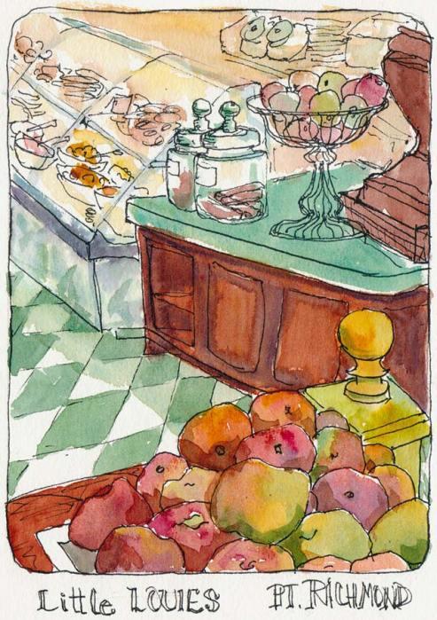 """Little Louies, Pt. Richmond, Ink & watercolor, 7x5"""""""