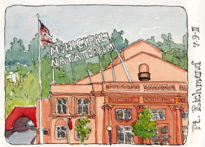 "Richmond Plunge (AKA Natatorium), ink & watercolor 5x7"""