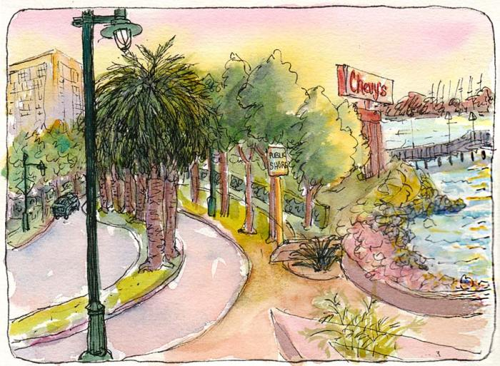 Emeryville Marina Chevys Sign at Sunset, ink & watercolor