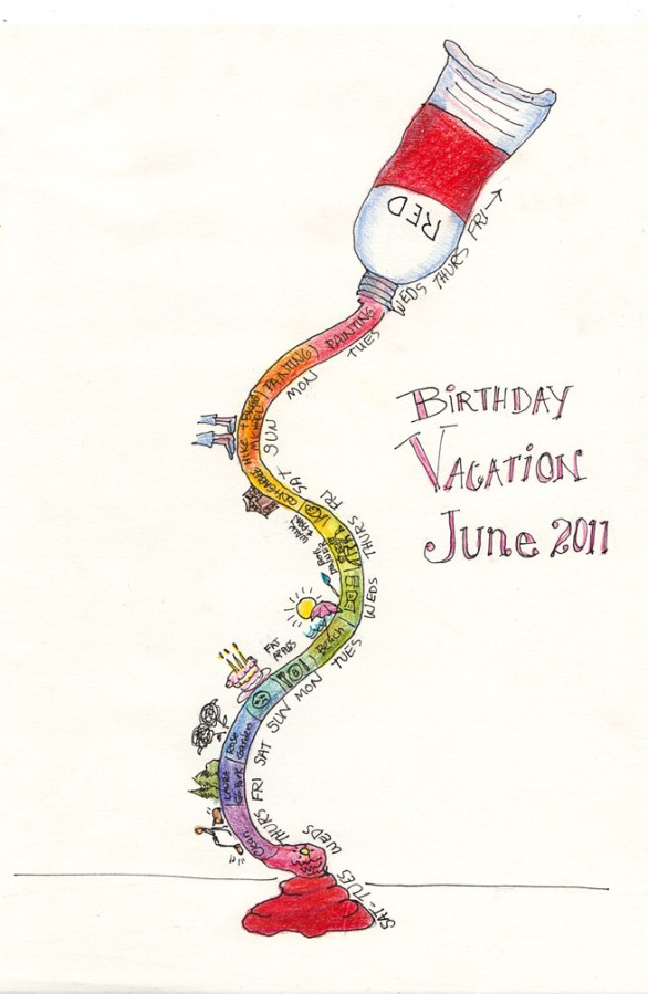 """Tube of Birthday, Ink and colored pencil, 12x9"""""""