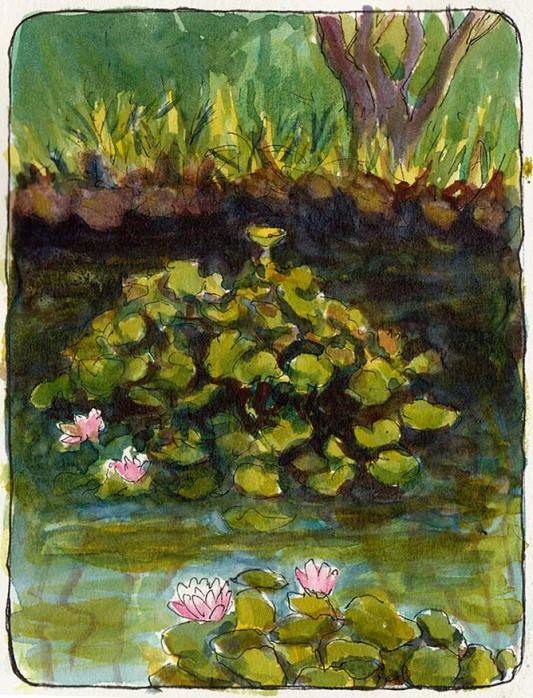 """Sunset View Cemetery Lily Pond Sketch #1, ink & watercolor 5x7"""""""