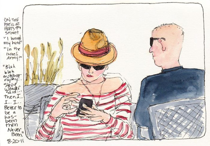 Peet's Patio People, ink & watercolor, 7x5""