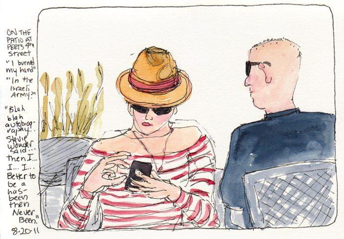 """Peet's Patio People, ink & watercolor, 7x5"""""""