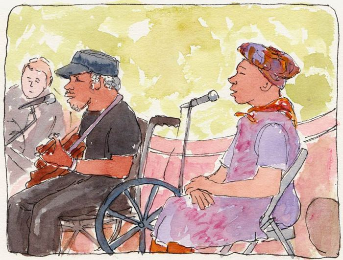 """This Old Band on 4th Street, 7x5"""", ink & watercolor"""