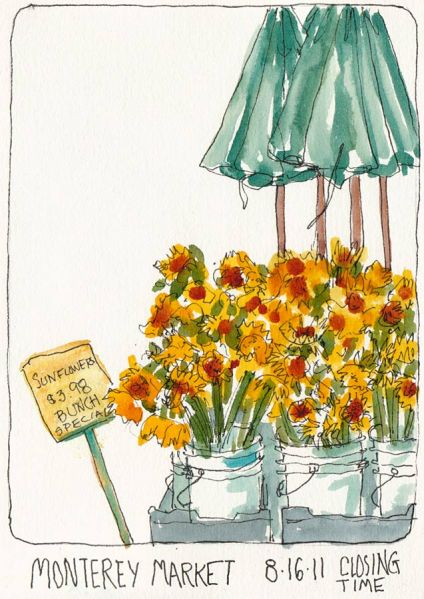 Monterey Market Sunflowers, ink & watercolor, 5x7""