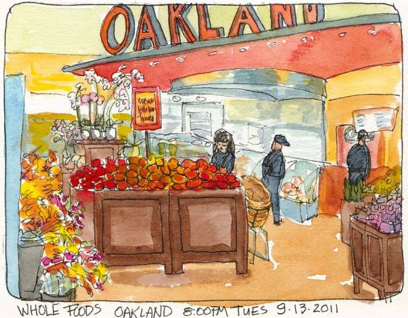 Whole Foods Oakland, ink & watercolor, 5x7""