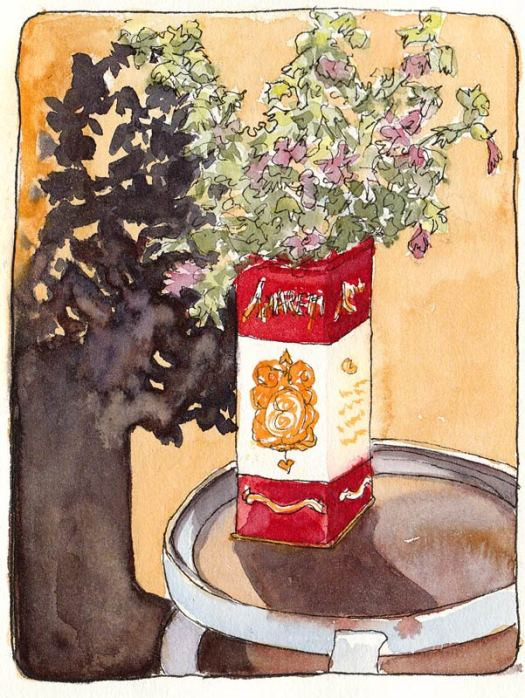 """Lavatera Clippings in Amaretti Cookie Can, ink & watercolor,7x5"""""""