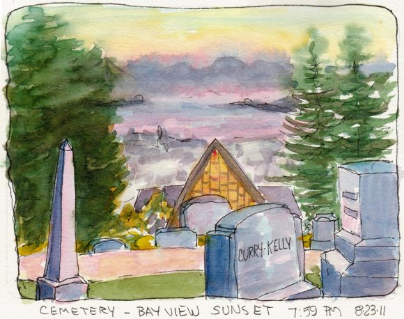 View of the Chapel, the flat lands and the Bay from the cemetery, ink & watercolor 5x7""
