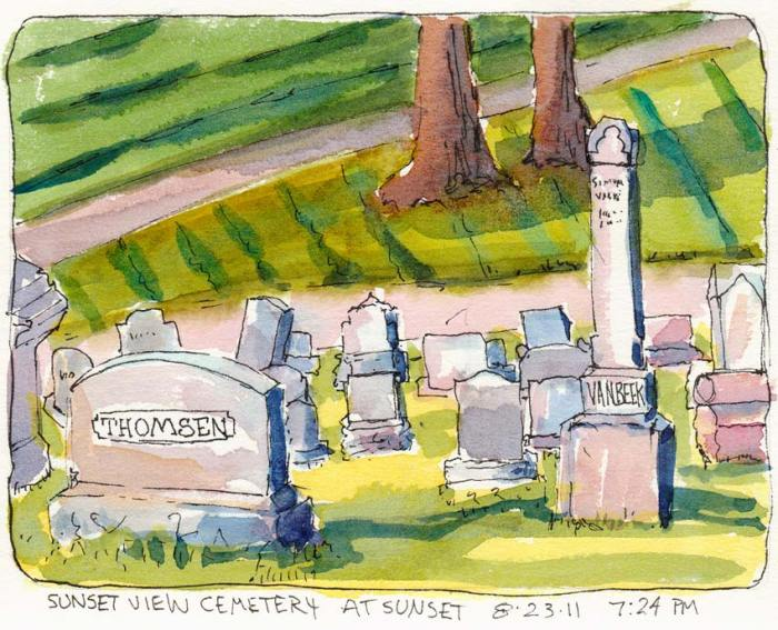 Sunset View Cemetery shadows, ink & watercolor, 5x7""