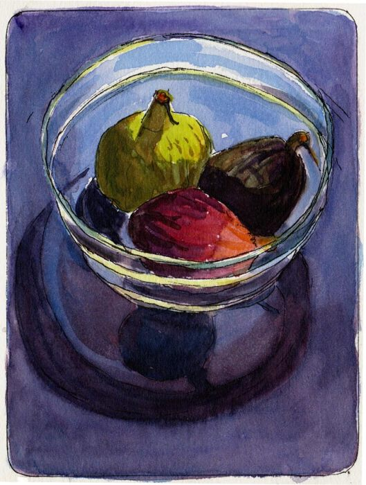 Figs in glass bowl in sun, ink & watercolor, 7x5""
