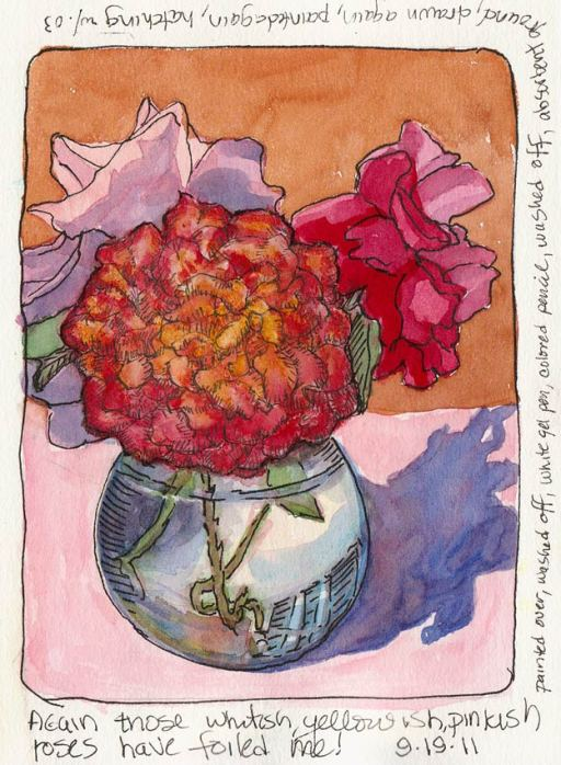 Wildly Overworked Roses, ink, watercolor, colored pencil, absorbent ground, gel pen