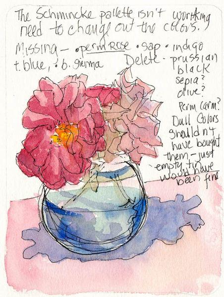 Schmincke Rose #2, ink & watercolor