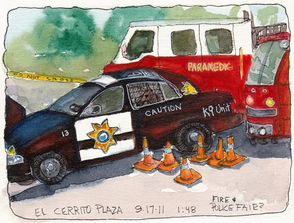 "K-9 Unit, Paramedics and Fire Truck, ink & watercolor, 7x5"""