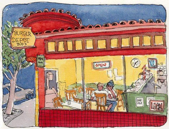 "Burger Depot, Ink & watercolor, 5x7"""
