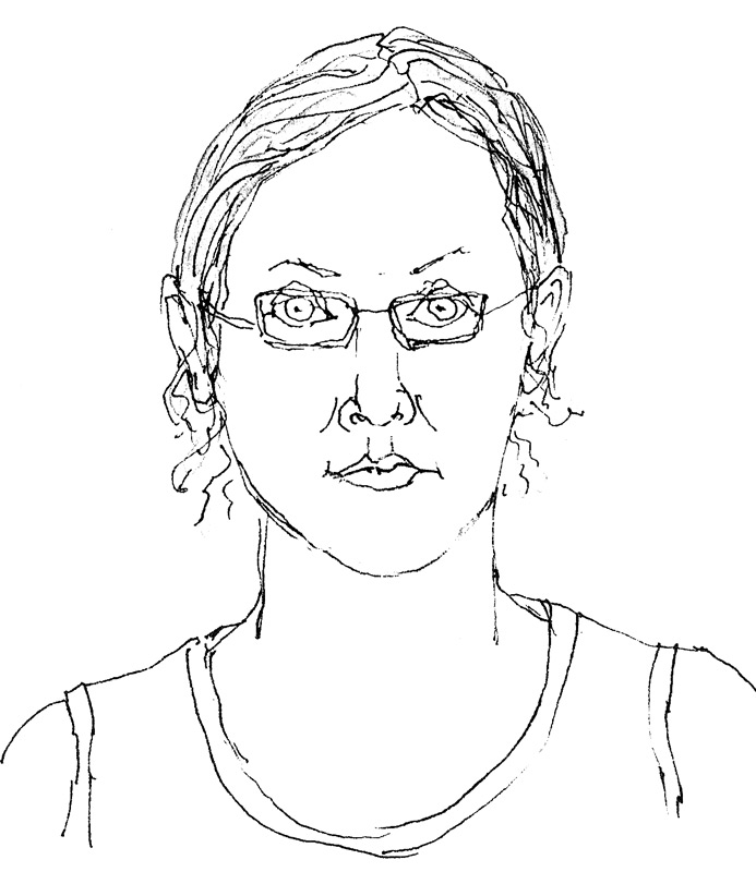Line Drawing Portrait : End of tablecloth journal self portrait jana bouc artist
