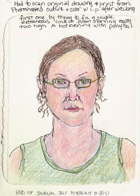 End of Journal Self Portrait, colored pencils, 7x5""