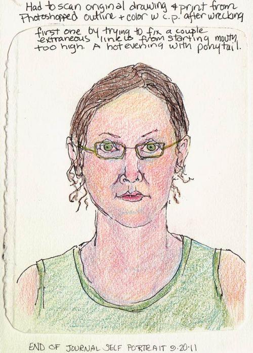 "End of Journal Self Portrait, colored pencils, 7x5"""