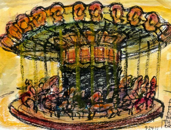 Carousel structure, ink & watercolor, 7x5""