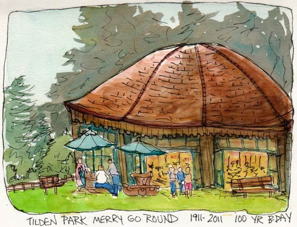 Tilden Park Carousel, ink & watercolor 5x7""